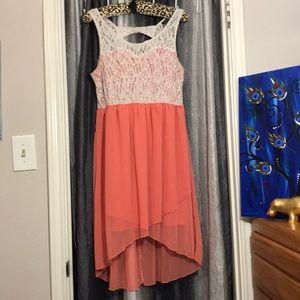 XL, Peach, White Lace Dress